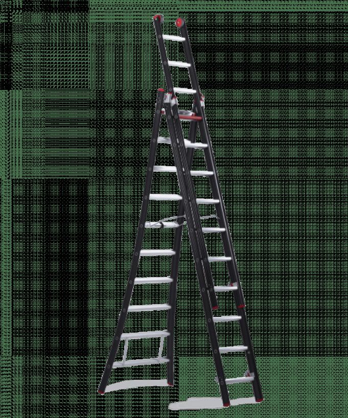 Alquiler de escalera extensible tijera 3 tramos 5 8m for Precio escalera aluminio extensible