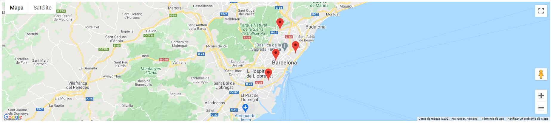 mapa tiendas barcelona